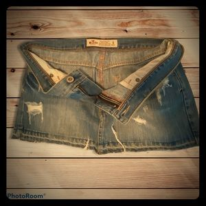 Hollister Frayed Denim Mini Skirt